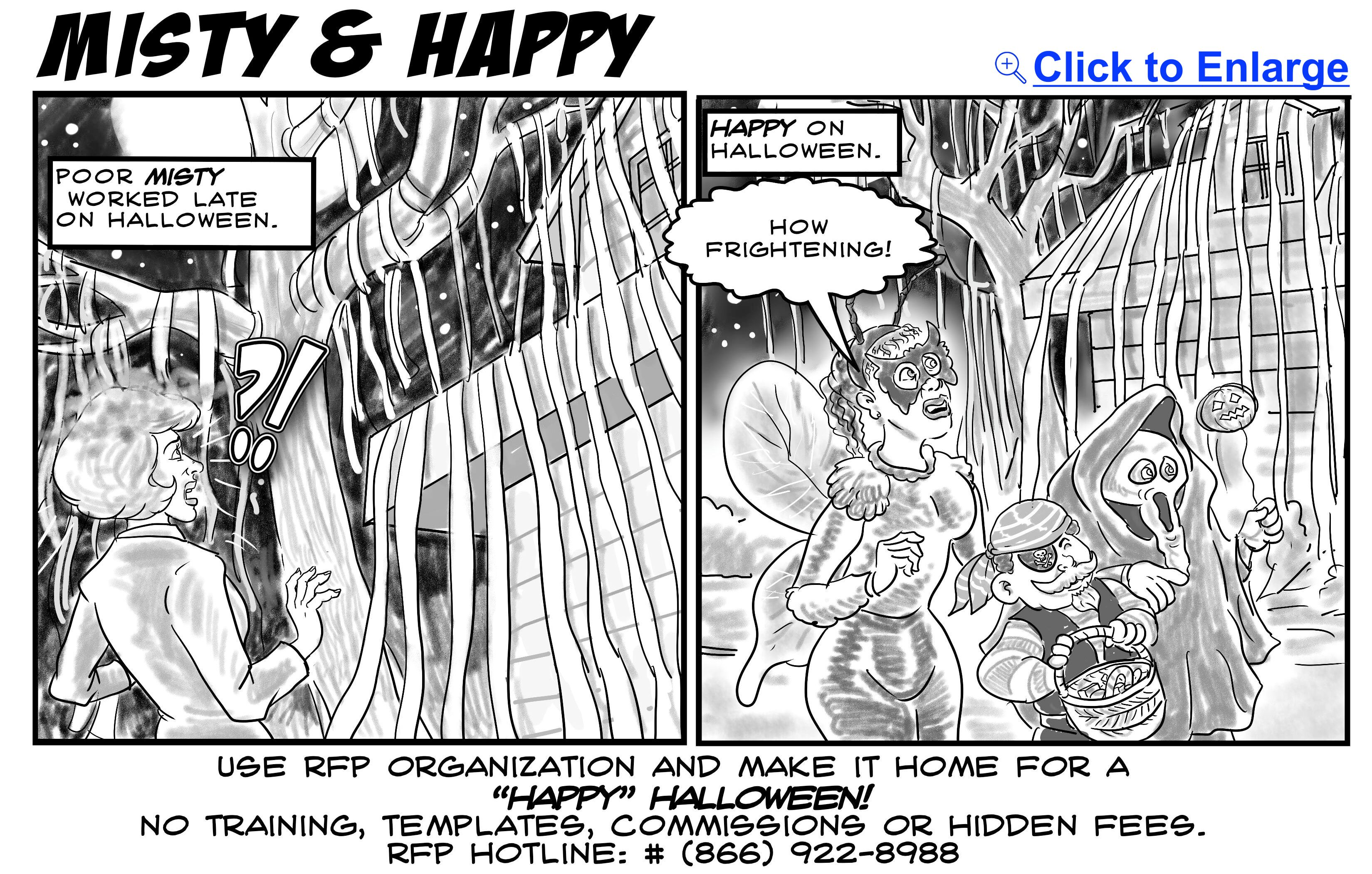 halloween meeting planning cartoon